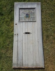 Beautiful Rustic Ledged Door with Stain Glass Window (W-80.3 x H-186.5cm)