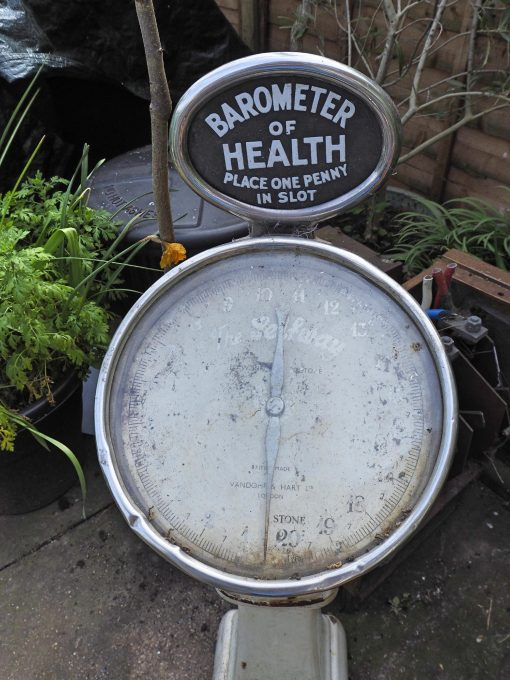 Vintage Penny Scale Barometer of Health Weighing Machine Vandome & Hart Train station